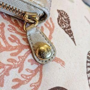 Coach Metal Gold Zip Leather Wallet